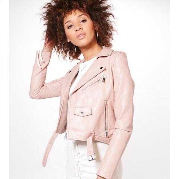 "a8b070cc3 NWT Boohoo ""Gemma"" Pink Faux Leather Moto Jacket NWT"